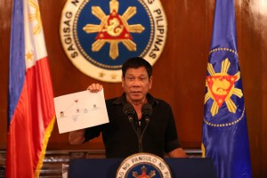 TRIAD CONNECTION. President Rodrigo R. Duterte shows a copy of a diagram showing the connection of high level drug syndicates operating in the country during a press conference at Malacañang on July 7, 2016. KING RODRIGUEZ/Presidential Photographers Division