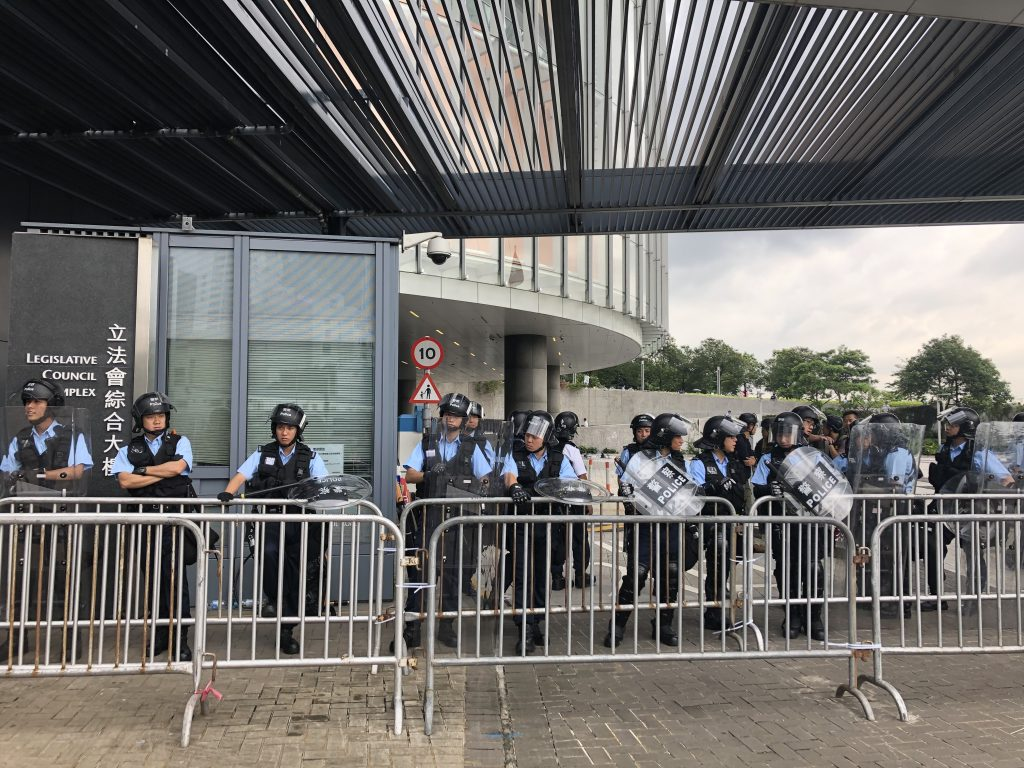 Entrance to the Legislative Council is heavily guarded by the police force.