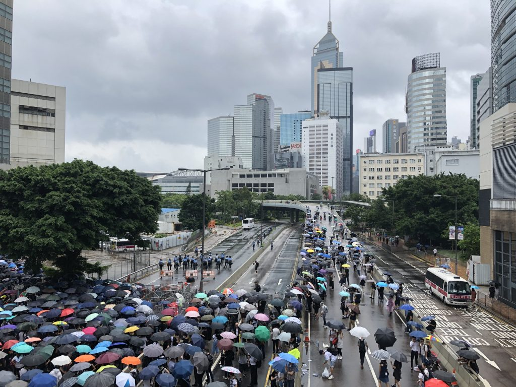 Hong Kong's skyline provides a spectacular backdrop for the protests.